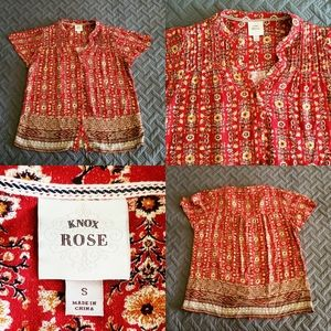 Knox Rose Floral Flowers Boho Peasant Button down